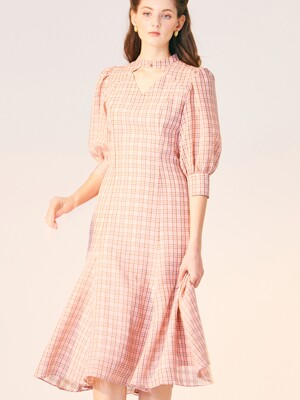 V NECK POINT CHECK DRESS_PINK