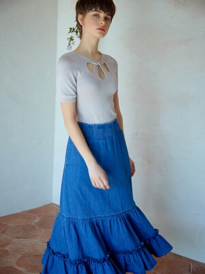 smocked denim tiered skirt