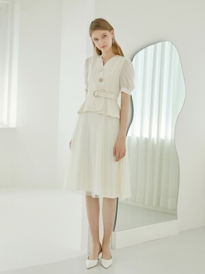 ELLIE / BELTED CHIFFON DRESS