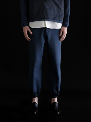 ELASTIC COTTON TRACK PANTS_NAVY