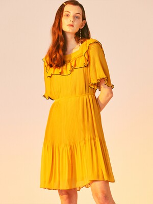 ALL PLEATS MINI DRESS_YELLOW
