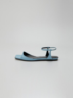 PEPE Squared toe Leather Flat Sandals Sky Blue