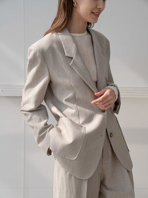 Basic patch pocket blazer in beige