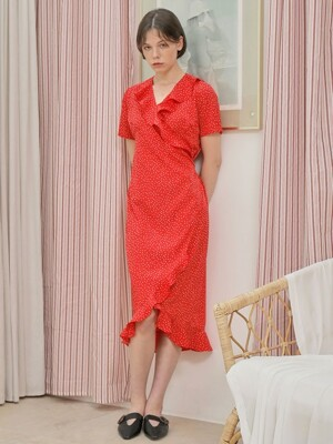 DOT FRILL WRAP ONE-PIECE_RED