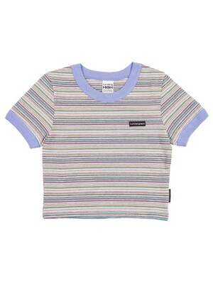 BOX LOGO STRIPE RINGER TOP [BLUE PURPLE]