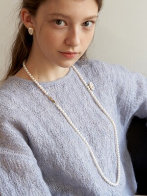[Silver925] Creme Pearl Long Necklace_NZ1119