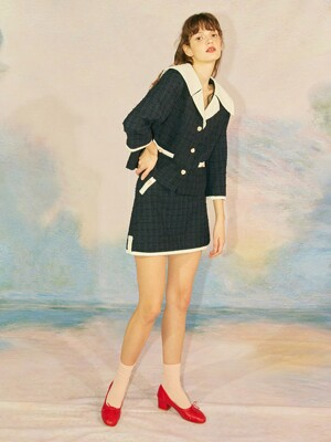 TWEED MINI SKIRT - NAVY