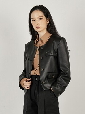 CROP LEATHER JACKET (BLACK)