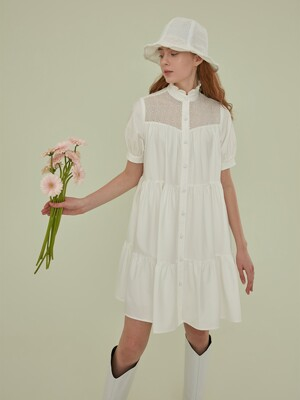 OLIVE EMBROIDERY TIERED DRESS