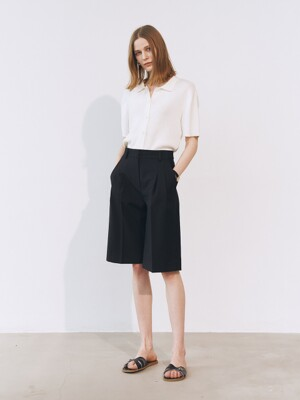 2-TUCKED BERMUDA SHORTS BLACK_UDPA1E203BK