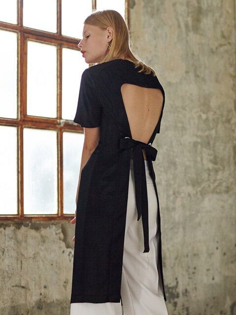 BACKLESS SILKY DRESS_BLACK