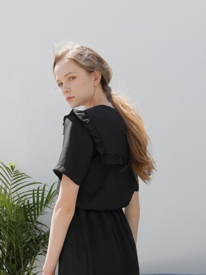 FRILL SAILOR SHIRT BLACK