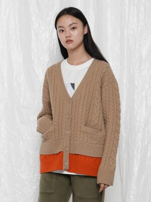 [UNISEX]R DOUBLE HEMLINE KNITTED CARDIGAN