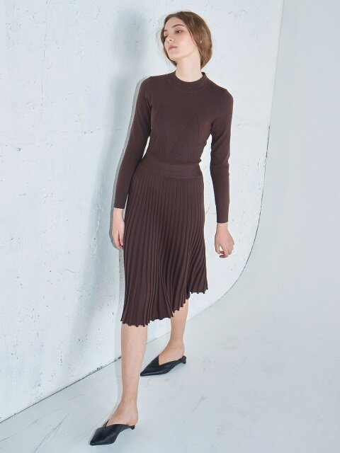 [단독] Flared rib knit dress #Chocobrown