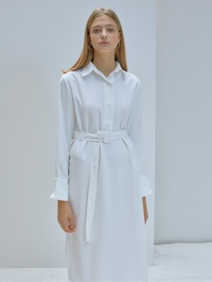 F POLO COLLAR DRESS_WH