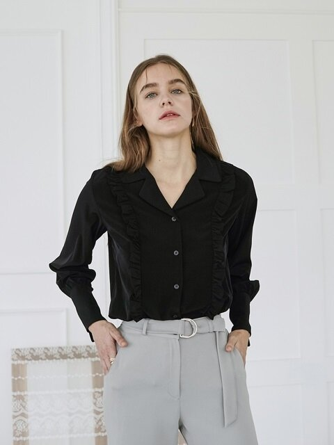 TWO FRILL BLOUSE BLACK