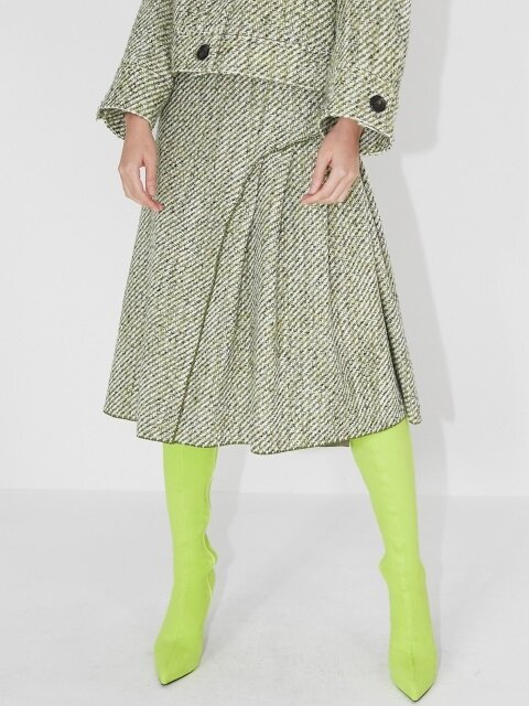 TWEED PLEATED SKIRT_GREEN