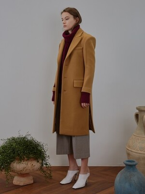 SINGLE WOOL FELT COAT [camel]