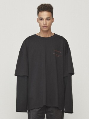 Oversized Layered T-shirt Black