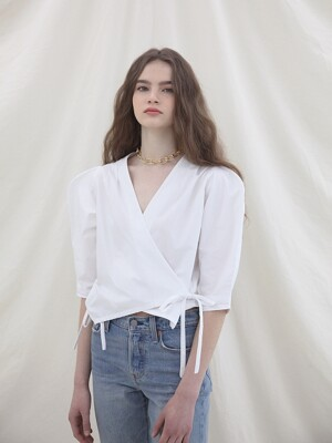 Ribbon Lap Blouse_ White