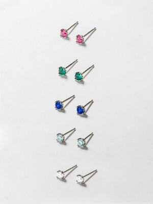 [SILVER92.5] 3MM COLOR POST EARRING