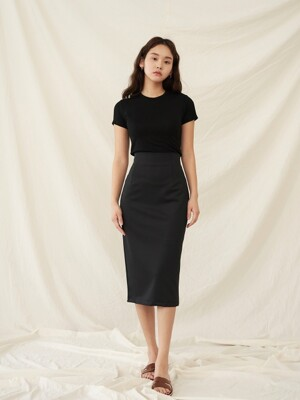 R BACK SLIT SKIRT BLACK