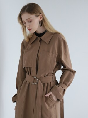 HIDDEN-BUTTONS TRENCH COAT BROWN