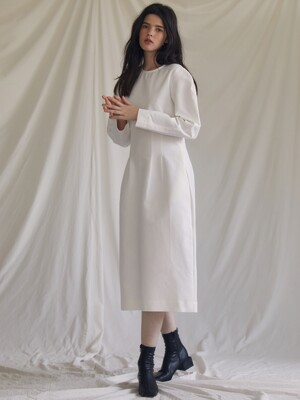 ES PINTUCK DRESS(WHITE)