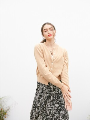 SIGNATURE BASIC CARDIGAN_BEIGE