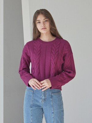 WEAVE CROP SWEATER_MAGENTA