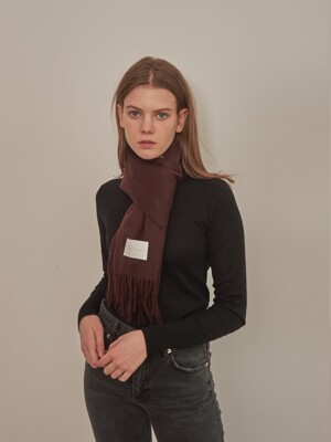 LAMBS WOOL 100 MUFFLER [BROWN]