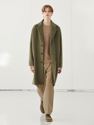 WOOL SINGLE COAT_KHAKI