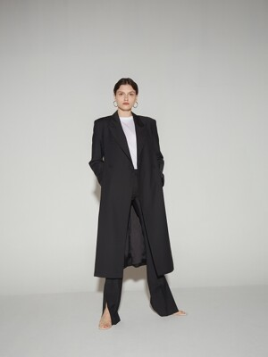 Overlapped lapel collar tailored jacket