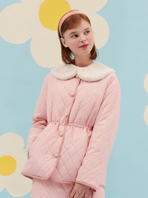 FUR CAPE QUILT JACKET_pink