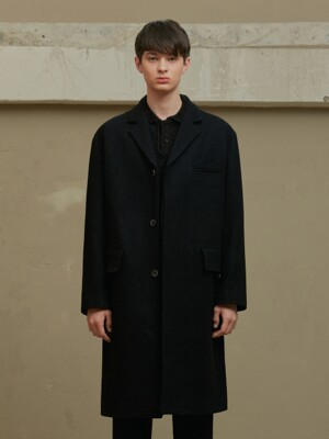 BLACK WOOL SOLID COAT (TC1CTVW1001)