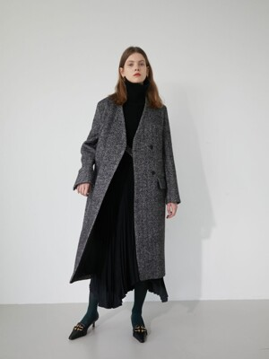 19' WINTER_ D/GREY HERRINGBONE NO COLLAR LONG COAT
