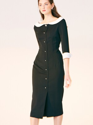 BOAT NECK H LINE DRESS_BLACK