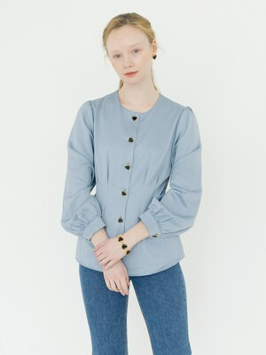 Heart Buttons Silky Blouse : Blue