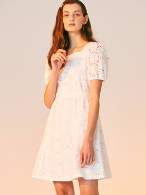 FLOWER LACE MINI DRESS_WHITE