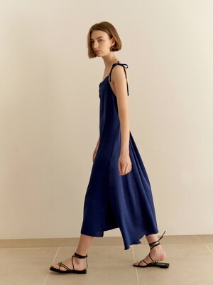 Shirring slip dress - blue