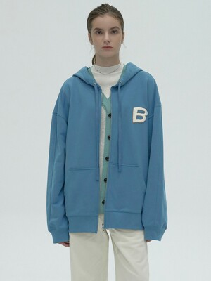 B POINT ZIP-UP HOODIE - SKY BLUE