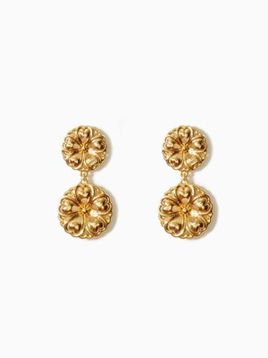 FRANCOIS FLORAL GOLD DOUBLE EARRINGS