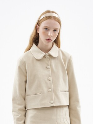 WOOL CROP JACKET [BEIGE]