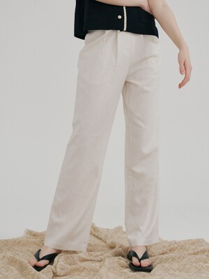 monts 1244 pleats belt slacks (beige)