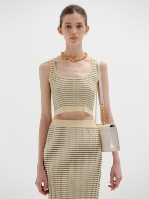 SINKL Sleeveless Crop Knit Top - Beige/Black Stripe
