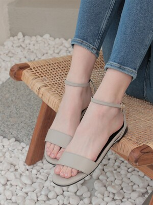 Leather Strap Sandal_Sand Grey