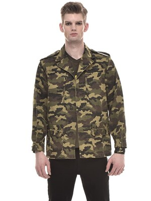 Honey Moon Embroidered Cotton-Twill Field Jacket (CAMOUFLAGE)