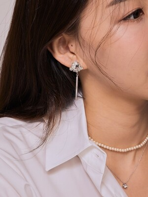 Crown bar Earring _White