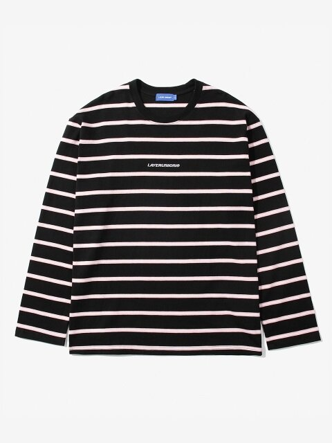 DOUBLE STRIPE L/S TEE BLACK
