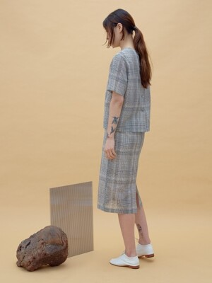 PALE BEIGE CHECK SEE THROUGH SKIRT